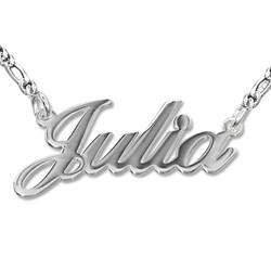 Sterling Silber Namenskette in Druckschrift- Klassik Doppeltstarkes Produktfoto