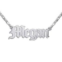 Doppeltstarke Sterling Silber Namenskette in altenglischer Schrift Produktfoto
