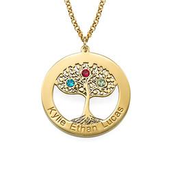 Vergoldete Lebensbaumkette mit Gravur und Geburtssteinen Produktfoto