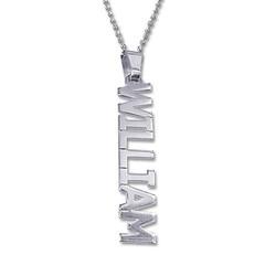 925er Silberkette mit senkrechtem Namensanhänger Produktfoto