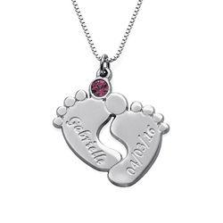 Personalisierte Babyfuß-Halskette für Mama Produktfoto