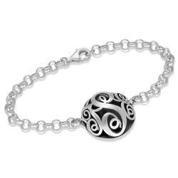 Konturiertes silbernes Monogramm-Armband Produktfoto
