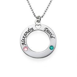 Silber Kette mit Ring des Lebens Anhänger und Geburtssteinen Produktfoto