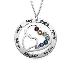 Herz in Herz-Halskette mit Gravur und Geburtssteinen Produktfoto