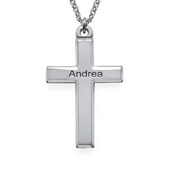 Personalisierte Silber Kreuzkette mit gerillten Kanten Produktfoto