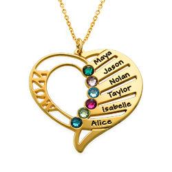 Gravierte Halskette mit Mutter-Geburtsstein aus Gold-Vermeil Produktfoto