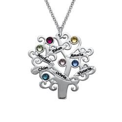 Familienstammbaum Halskette mit Geburtssteinen Produktfoto