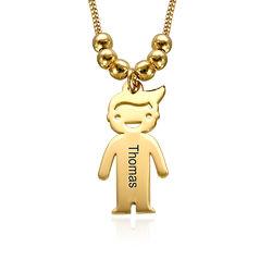750er vergoldete Silber Kette für Mama mit Kinder Anhängern und Produktfoto