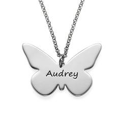 Gravierbare Schmetterlingskette aus Silber Produktfoto
