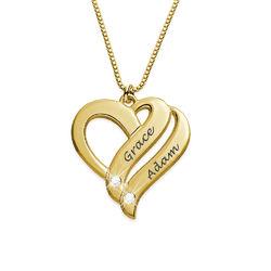 Zwei-Herzen-für-immer-vereint-Kette mit Gravur mit Diamanten und Produktfoto