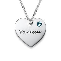925er Silber gravierte Herzkette mit Geburtssteinen Produktfoto