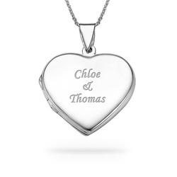 Gravierte 925er Silberkette mit Herz Medaillon Produktfoto