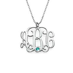 925er Monogramm Silberkette mit Initialen und Geburtsstein Produktfoto