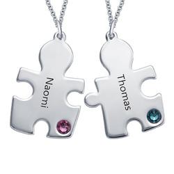 Puzzle-Halskette mit Geburtssteinen aus Sterling Silber Produktfoto