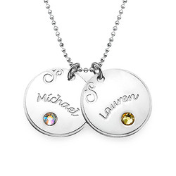 925er Silberkette mit graviertem runden Anhänger und Geburtsstein Produktfoto