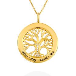 Kette mit rundem Lebensbaum-Anhänger und Diamanten in Gold-Vermeil Produktfoto