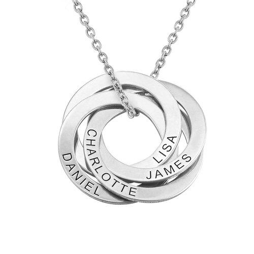 Halskette aus Sterlingsilber mit 4 russischen Ringen und Gravur Produktfoto