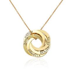 Gold-beschichtete Halskette mit 5 russischen Ringen und Gravur Produktfoto