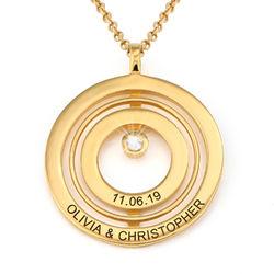 Gold-beschichtete Lebenskreis-Kette mit Gravur und Diamant Produktfoto
