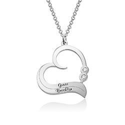 Sterling Silber Herzkette mit gravierten Namen und mit Diamant Produktfoto