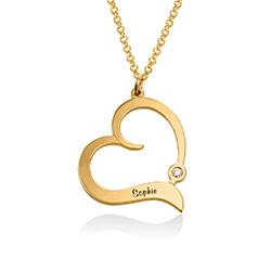 Gold Vermeil Herzkette mit gravierten Namen und mit Diamant Produktfoto
