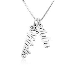 925er Silberkette mit senkrechtem Namensanhänger für Frauen Produktfoto