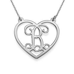 Monogramm Herzkette aus 925er Silber Produktfoto