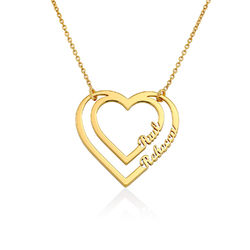 Gravierte Herzkette mit 2 namen aus Gold-Vermeil Produktfoto