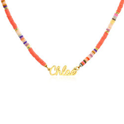 Namenshalskette mit Perlen in Koralle und Goldplattierung Produktfoto