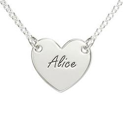 925er Silber gravierte Herzkette Produktfoto