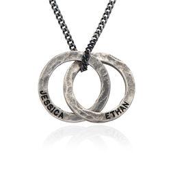 Russischer Ring Halskette für Männer aus mattem Sterling Silber Produktfoto