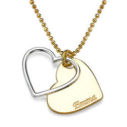 Herz-Halskette für Paare in zwei Tönen mit Wunschgravur Produktfoto
