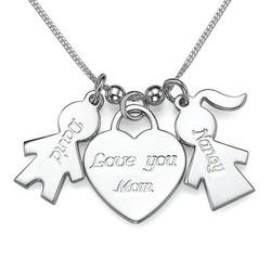 925er Silber Kette mit Kinder Anhänger und Love you Mom Herz Produktfoto