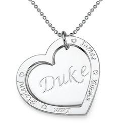 Gravierbare Familien-Herzkette aus 925er Silber Produktfoto
