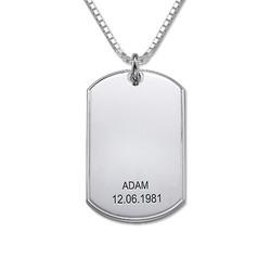 925er Silber Dog Tag Halskette Produktfoto