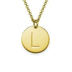 Vergoldete Halskette mit Buchstaben und mit gravierbarem runden Produktfoto