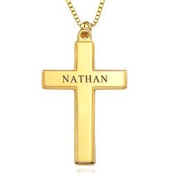 Gravierte Kreuzkette für Herren in Gold-Vermeil Produktfoto
