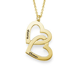 18k Vergoldete Herzen in einer Herzkette Produktfoto