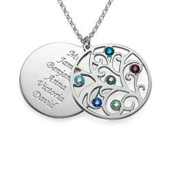 Filigrane Stammbaum Halskette mit Geburtssteinen Produktfoto