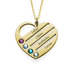 Vergoldete Herzkette für Mutter mit Geburtssteinen Produktfoto
