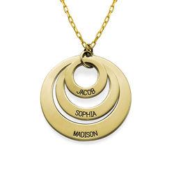 Gravierte 417er Gold Kette mit drei Ringen für Mütter Produktfoto