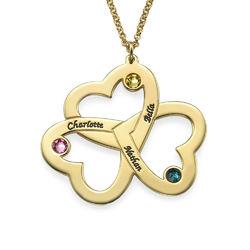Personalisierte vergoldete Dreifachherzkette mit Gravur Produktfoto