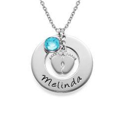 Babyfüße Halskette für Mama mit Geburtsstein Produktfoto
