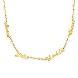 Namenskette mit bis zu 5 Namen mit Gold-Vermeil Produktfoto