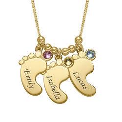 Mutterschmuck - Vergoldete Babyfuß Halskette mit Gravur Produktfoto