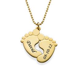 Vergoldete Babyfüße Halskette Produktfoto