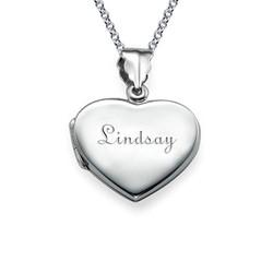 Graviertes Silber Mini Medaillon in Herzform Produktfoto