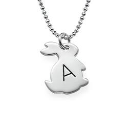 Häschenkette mit Initiale aus Silber Produktfoto