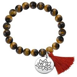 Yogaschmuck – Kugelarmband mit Lotusblüten-Anhänger Produktfoto