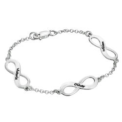 Mehrfach Infinity-Armband mit Gravur aus Silber Produktfoto